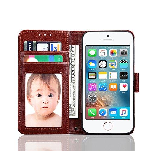 iPhone SE 5SE 5 5S Handycover, LifeePro für iPhone SE 5SE 5 5S Crazy Horse Pattern PU Leder Brieftasche Handycover mit Flip Stand Funktion Fotorahmen und Kartensteckplätze TPU Silikon Weiche Abdeckung Braun