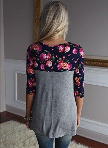 Monika Femme Printemps Sexy Sweat-Shirts Tunique Top Casual Chic Mode Printemps Blouse Hauts Col Rond Manche Longue T-Shirt Gris