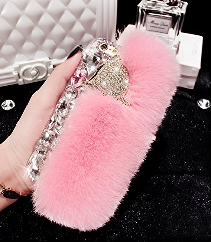 Cover per iPhone 6S Plus Diamante,Custodia per iPhone 6 Plus, Bonice Pelliccia Di Lusso Cristallo Bling [Serie peluche] ed Elegante Rex Rabbit Fur [carino] Custodia Inverno Calde Soffici Villi Eco-pel Lusso Fur - Cover - 09