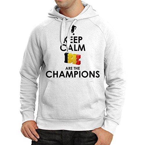 Kapuzenpullover Belgier Sind die Champions - Russland-Meisterschaft 2018, WM-Fußball, Team von Belgien Fan-Shirt (Large Weiß Mehrfarben) (Hochzeiten Programm Für Fans)