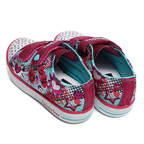 Twinkle Toes by Sketchers Twinkle Breeze Pop-Tastic Sneakers Turquoise - Hot Pink