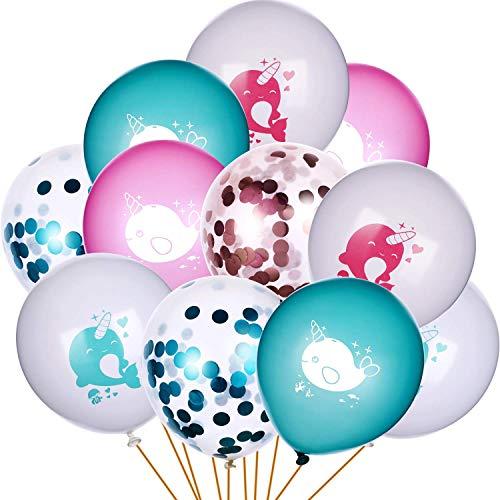 30 Stücke Geburtstag Narwal Ballons Blau und Rosa Ballon mit Narwhal Muster Konfetti Ballons für Baby Dusche Party Favors (Party Für Favor Baby-dusche)