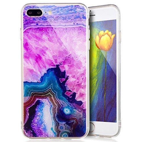 Custodia Cover iPhone 7 plus Silicone Morbido,Ukayfe Ultra Slim Protezione Corpeture Case per iPhone 7 plus in Gel TPU con Creativo Bella Pittura Disegno Acqua di Mare ,Soft Protettiva Custodia Brilla Onde 5#