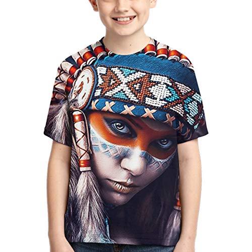 Mark Stars Native American Girl Tattoo Design Teenager Jungen Mädchen Jugend Kurzarm T-Shirt T(L,Schwarz) -