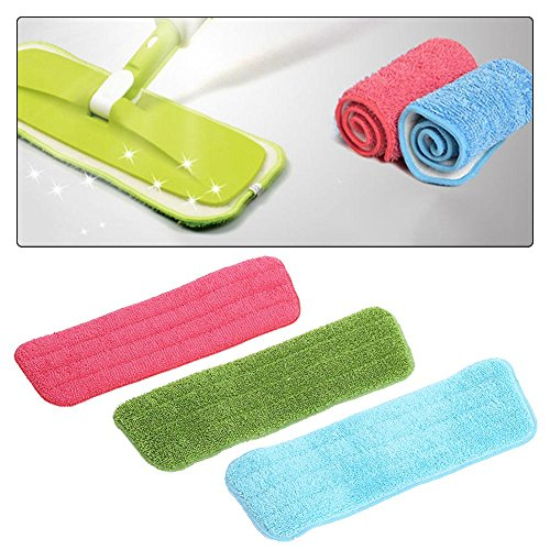 Rrimin Practical Cleaning Pad Microfiber Mop Floor Dust Household Flat Refill Tool (1 pc Color Random)
