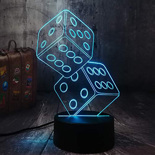 Fun Dice3D Night Light LED Table Desk Sleep Lamp Living Room Decor Toy Christmas Birthday Gift