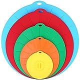 SOLEDI Couvercle en Silicone Set de 5 Couvercles d'aspiration, réutilisables en 5 tailles différentes efficace pour couvrir: casseroles, poêles, bols, tasses etc, 100% silicone Alimentaire