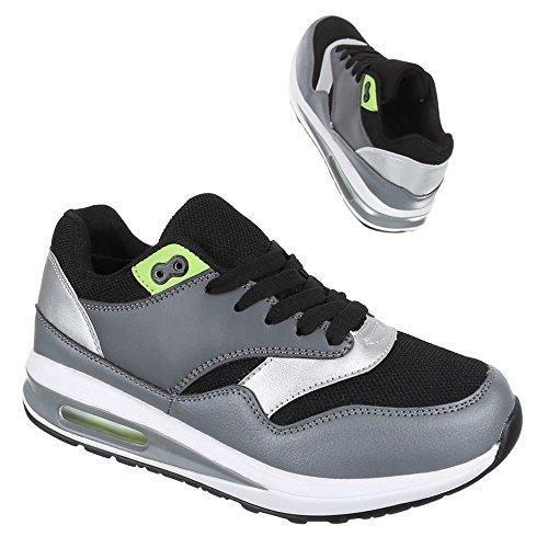 Chaussures femme, 365–9A, les loisirs chaussures sneakers chaussures de sport Noir - Schwarz Grau