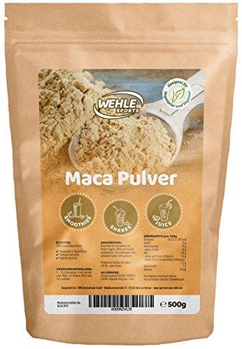 Maca Pulver 500g - Maca-Wurzel Rohkost Qualität aus Peru - Maca Wurzel Pulver Vegan enthält Proteine, Vitamine und Aminosäuren - Wehle Sports