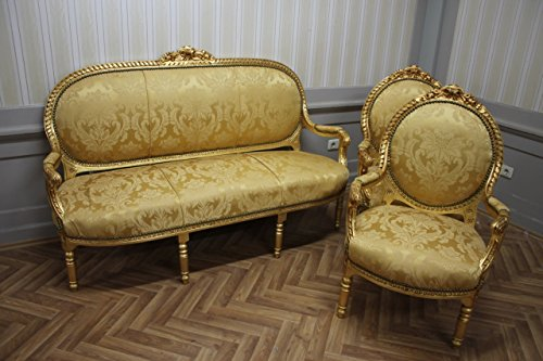 LouisXV Estilo Barroco Estilo Antiguo Salón 2 sillones 1 sofá devuelve KeSa1100