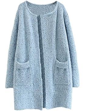 Chaqueta Primavera Mujer Moda Joven Manga Larga Splice Elegantes Sencillos Especial Cardigan Pullover Punto Abrigos...