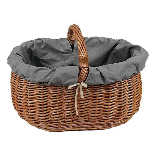 Großer Einkaufskorb/Autokorb aus Weide oval Braun mit Stoff grau 46x32x35 cm Weidenkorb Autokorb Geflochten