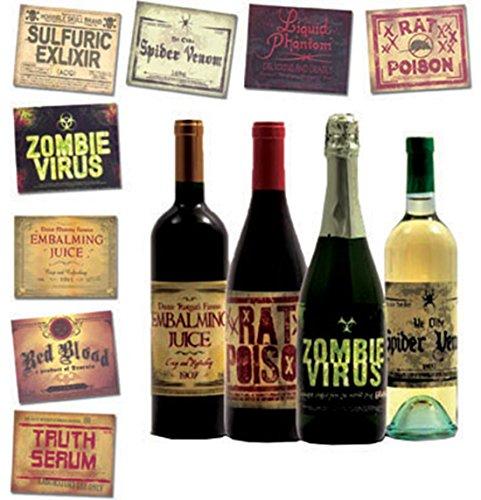 erdbeerparty - Halloween Party Dekoration Flaschen Etiketten Zombie Virus- Ratten Gift, 1 Stück, 15cm, Mehrfarbig (Halloween Flaschen Etiketten)