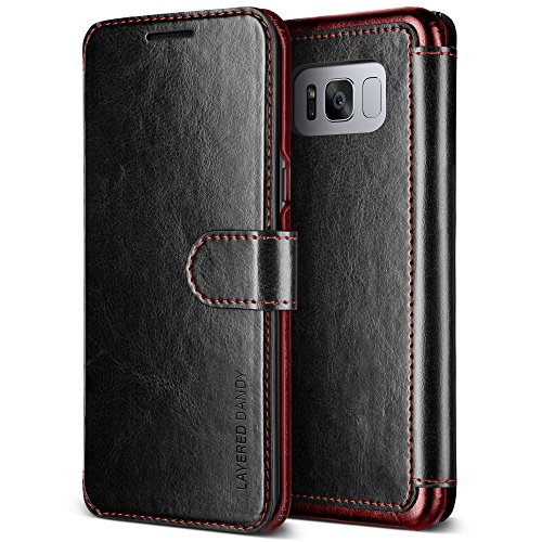 Coque Galaxy S8, VRS Design® [Marron] Fentes pour Cartes Étui Portefeuille à rabat en cuir Housse de Protection case [Layered Dandy] pour Samsung Galaxy S8 2017 - Parent