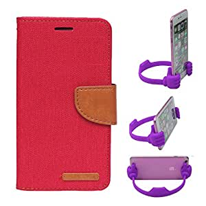 Aart Fancy Wallet Dairy Jeans Flip Case Cover for Apple6G (Red) + Flexible Portable Mount Cradle Thumb OK Designed Stand Holder By Aart Store.