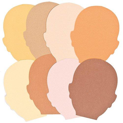 Gesichter aus Papier in verschiedenen Hautfarben für Kinder zum Bemalen und Verzieren (50 (Theater Uk Kostüme)