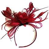 Burgundy Dark Red Feather Hair Fascinator Headband Wedding and Royal Ascot Races Ladies