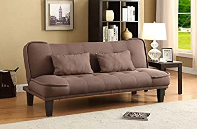 Alysia Brown Fabric 2 Seater Sofa Bed Futon Sofabed Living Room Furniture - low-cost UK sofabed shop.