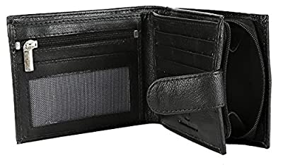 RFID Blocking Mens Designer BUONO Pelle Genuine Real Soft Leather Wallet with Large Zip Coin Pocket/Pouch Gift Boxed