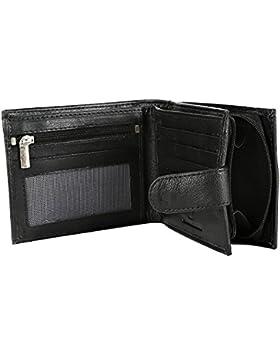 RFID bloqueo Mens funda Buono pelle Real auténtica cartera de piel suave con gran bolsillo monedero con cremallera...
