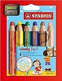 Buntstift, Wasserfarbe & Wachsmalkreide - STABILO woody 3 in 1 - 6er Pack mit Spitzer - 6 verschiedene Farben