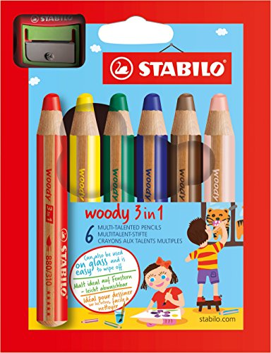 Buntstift, Wasserfarbe & Wachsmalkreide - STABILO woody 3 in 1 - 6er Pack mit Spitzer - mit 6 verschiedene Farben
