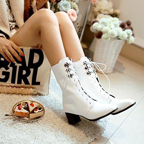 &ZHOU Bottes d'automne et d'hiver Bottes courtes pour femmes adultes Martin bottes bottes Chevalier A5-3 White