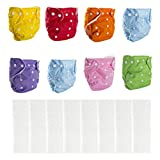 BIG ELEPHANT 8 Pack Baby Solid Color Reusable Cloth Pocket Diapers Pocket Nappies with 8 Microfiber Inserts PD-04