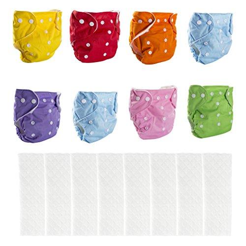 BIG ELEPHANT Paquete de 8 pañales reutilizables de bolsillo de tela c