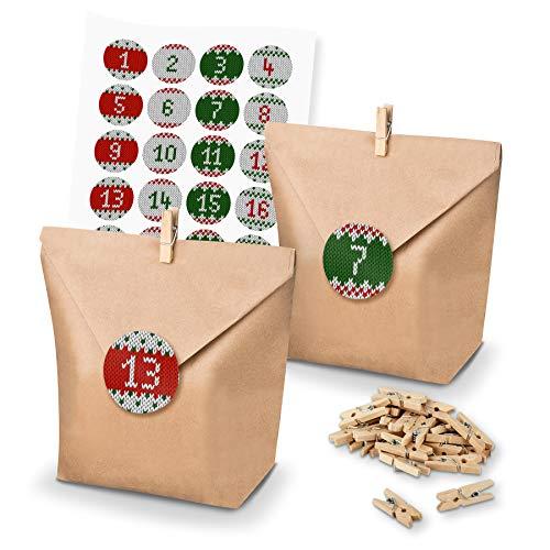 itenga DIY Juego de Calendario de Adviento para Rellenar Bolsas de Regalo + Grapas + Adhesivo Calendario de Adviento (Números)