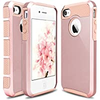 iPhone 4s Funda, iPhone 4 Caso, Hinpia Choque Absorción Híbrido Duro Suave Ultra Protector TPU Bumper Elegante Carcasa Caso para Apple iPhone 4S, iPhone 4 (Oro Rosa/Oro Rosa)