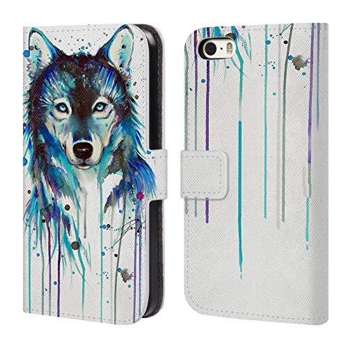 Head Case Designs Offizielle Pixie Cold EIS Wolf Tiere Leder Brieftaschen Huelle kompatibel mit iPhone 5 iPhone 5s iPhone SE