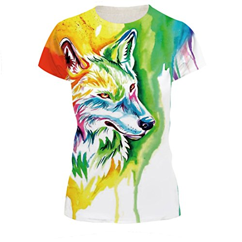 Jiayiqi Unisex Bunte Cartoon Wolf Gedruckt Crew T-Shirt Sportswear Plus Größe 2XL (Größe Crew T-shirt Plus)