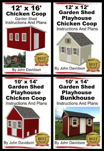 4 Garden Shed Plan Books 10' x 14', 12' x 16', 12' x 12', 10' x 14' Step By Step Pictures, Videos, Instructions and Plans (English Edition) - 14' Storage Building