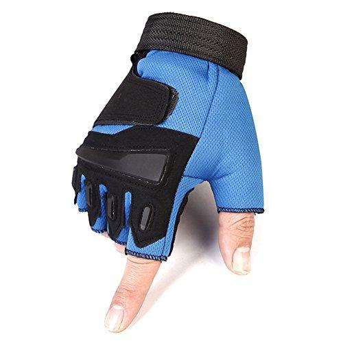 Westeng 1 pz unisex guanti da alpinismo, guanti da ciclismo mezze dita di nylon anti-sudore, per combattimento guanti per uomo (blu/l)