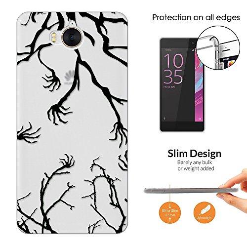 c01641 - Creepy Tree And Hands Halloween Design Huawei Y5 (2017) Fashion Trend Leichtgewicht Hülle Ultra Slim 0.3MM Kunststoff Kanten und Rückseite Protection Hülle - (2017 Halloween Trends)