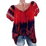 VJGOAL Damen T-Shirt, Damen Mode Kurzarm V-Ausschnitt Spitze Gedruckte Spitze Tops Sommer Lose T-Shirt Bluse (4XL/50, Rot)