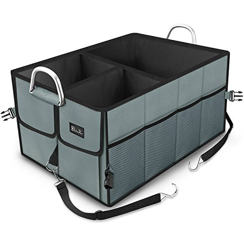 etecPro Auto Kofferraum Organizer mit Klett Autotasche Organizer aus Polyester 2-in-1 Faltbare Vielen Fächern Wasserdicht ()