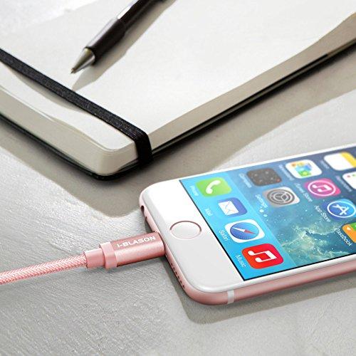 [Certificato Apple MFi] i-Blason Cavo USB 6Ft / 1,8 metri per iPhone 6s / 6 / Plus /5s / 5c / 5, iPad Air / mini / mini2, iPad 4th generazione, iPod 5th e iPod nano 7th generazione (180 cm Rosa) 180 cm Rosa