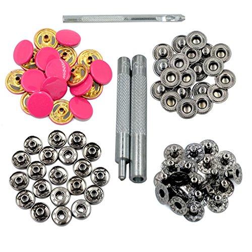 dgol 20Sets Colorful Druckknöpfe Ohrstecker Kupfer Kleidung Nieten 633Snap Knöpfe mit installieren Tools Farbe hot pink Hot Snap