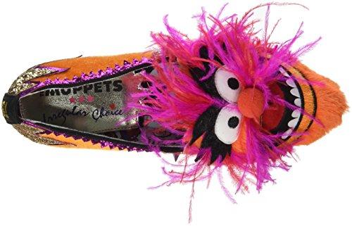 Irregular Choice Party Animal!, Escarpins Bout Fermé Femme Multicolour (Orange/Pink)