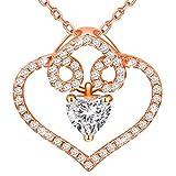 Dawanza - Collier Femme Cristal en Plaqué Or Rose - Pendentif en Design Original...