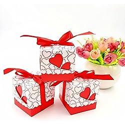 JZK 50 x Rojo corazón papel favor caja de regalo cajas para los favores, dulces, confeti,papel picado, pequeños regalos y joyas para la boda de fiesta de bienvenida al bebé de Navidad Santa comuni