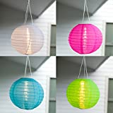 4er Set LED Solar Lampion Garten Deko blau grün pink weiß Miami Lights4fun