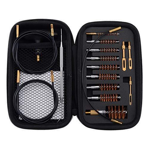 BOOSTEADY Gewehr Reinigung Kit .17 .22/.223/5.56MM .243 .280 .30 .357/9MM .40 .45 12GA Multi-Kaliber Phosphor Borste Bohrbürsten mit Flexibeles Gewinde Bohr-Reinigung Beschichtete Kabel -