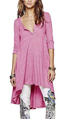 Urbancoco Damen kurz Ärmelige button down Asymmetrisch T-Shirt Sommer Tunika (S, hot pink)