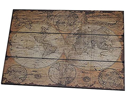 Antike weltkarte auf holz landkarte vintage antik karte alte welt globus loft