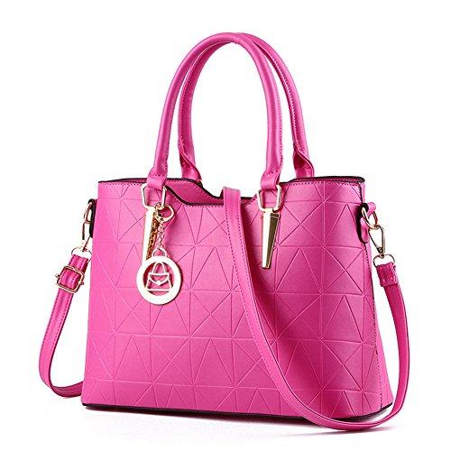 fanhappygo Frauen PU Leder Handtaschen Schultertaschen Tasche Handtasche Umhängetasche Schulter Beutel Reißverschluss Messenger Hobo Bag rosarot