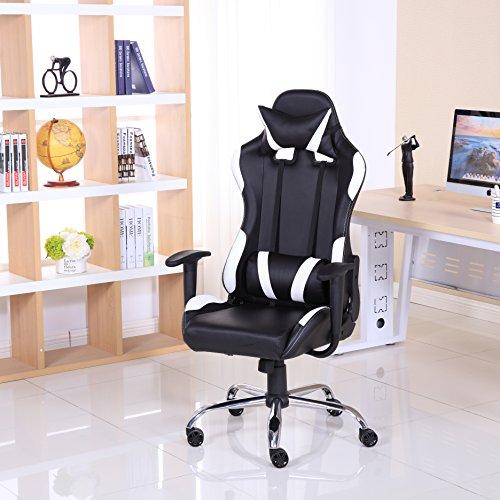 Sedia reclinabile da gaming, lussuosa, in pelle, stile racing, per ufficio e computer White