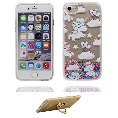 "iPhone 6S Plus Coque, Skin étui iPhone 6 Plus / 6S Plus 5.5"", Design Glitter Bling Sparkles Shinny Flowing iPhone 6 Plus Case 5.5"" résistant aux chocs & ring Support (cheval) # 3"